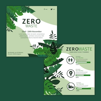 Plantilla de volante cuadrado de anuncios de desperdicio cero