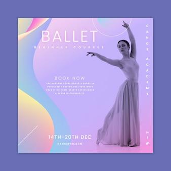 Plantilla de volante cuadrado de ballet bailando