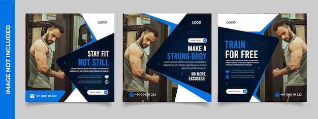 Plantilla de volante cuadrado de banner de publicación de redes sociales de gimnasio de fitness