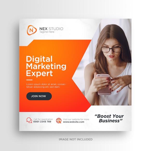 Plantilla de volante cuadrado de banner de redes sociales de marketing de negocios digitales