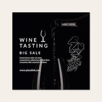 Plantilla de volante cuadrado de cata de vinos