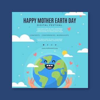 Plantilla de volante cuadrado para la celebración del día de la madre tierra