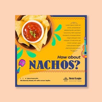 Plantilla de volante cuadrado de comida mexicana y nachos