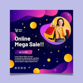 Plantilla de volante cuadrado de compras en línea