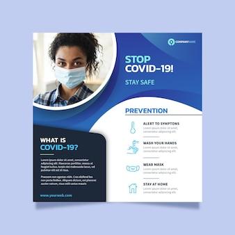 Plantilla de volante cuadrado de coronavirus