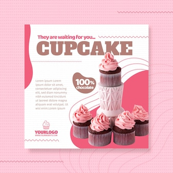 Plantilla de volante cuadrado delicioso cupcake