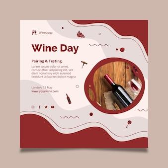 Plantilla de volante cuadrado del día del vino