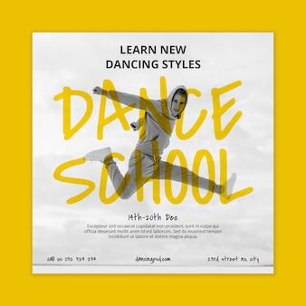 Plantilla de volante cuadrado de escuela de baile con bailarín