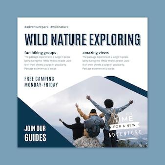 Plantilla de volante cuadrado explorando naturaleza salvaje