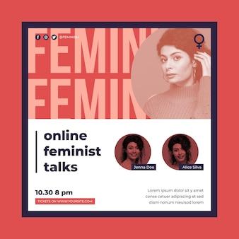 Plantilla de volante cuadrado de feminismo con foto