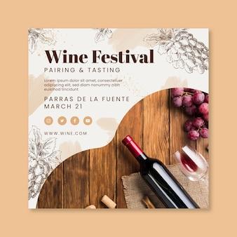 Plantilla de volante cuadrado del festival del vino