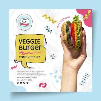 Plantilla de volante cuadrado de hamburguesa vegetariana de comida americana