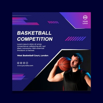 Plantilla de volante cuadrado con jugador de baloncesto masculino