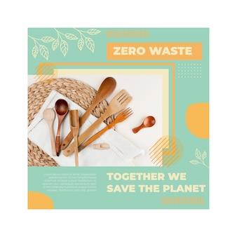 Plantilla de volante cuadrado de medio ambiente cero residuos