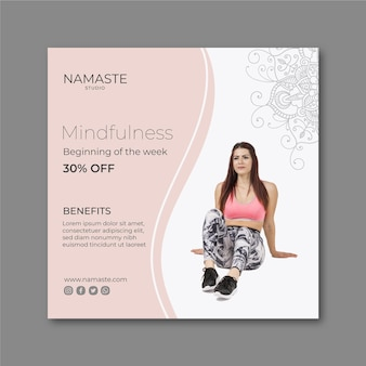 Plantilla de volante cuadrado de meditación y atención plena