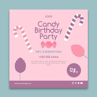 Plantilla de volante cuadrado de negocios de barra de caramelo rosa