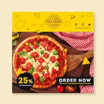 Plantilla de volante cuadrado para pizzería