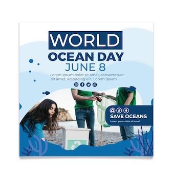 Plantilla de volante cuadrado plano del día mundial de los océanos
