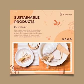 Plantilla de volante cuadrado de productos sostenibles