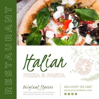 Plantilla de volante cuadrado para restaurante de comida italiana