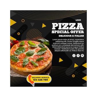 Plantilla de volante cuadrado de restaurante de pizza