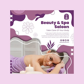 Plantilla de volante cuadrado de salón de belleza y spa