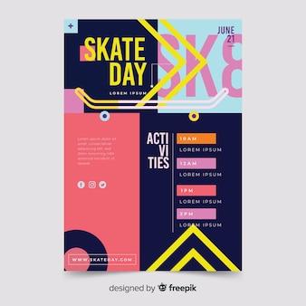 Plantilla de volante de deporte de día de skate