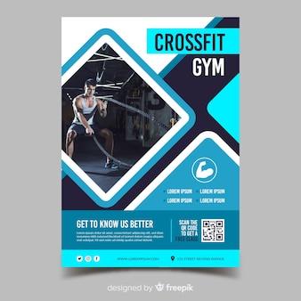 Plantilla de volante de deporte de gimnasio crossfit