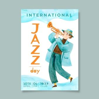Plantilla de volante del día internacional del jazz de acuarela