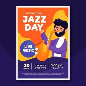 Plantilla de volante del día internacional del jazz