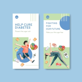 Plantilla de volante con el día mundial de la diabetes para folletos y folletos en acuarela