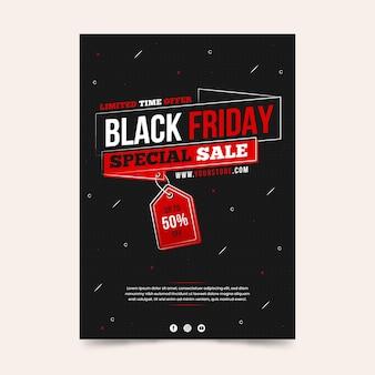 Plantilla de volante dibujado a mano de viernes negro de venta especial