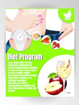 Plantilla de volante de dieta y nutrición