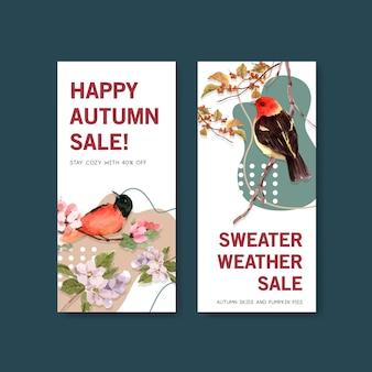 Plantilla de volante con diseño de concepto de bosque y animales de otoño para acuarelas de folletos y folletos.