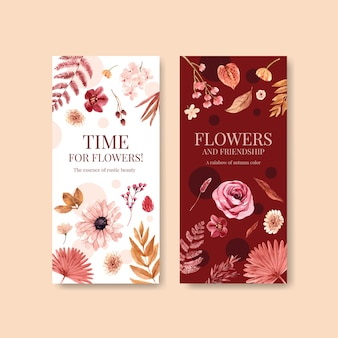 Plantilla de volante con diseño de concepto de flor de otoño para folleto y folleto ilustración acuarela.