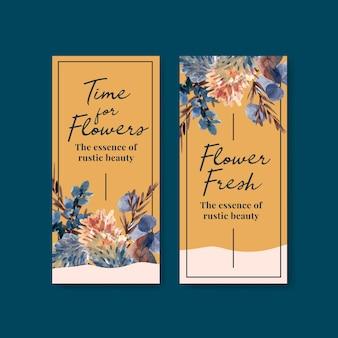 Plantilla de volante con diseño de concepto de flor de otoño para folleto y folleto