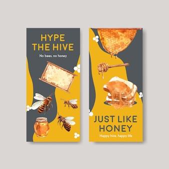 Plantilla de volante con diseño de concepto de miel para folleto y folleto ilustración de vector de acuarela