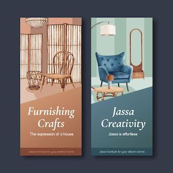 Plantilla de volante con diseño de concepto de muebles jassa para folleto y folleto ilustración vectorial de acuarela