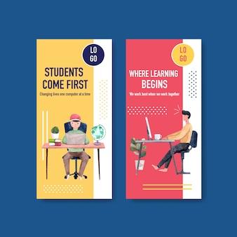 Plantilla de volante con diseño de educación en línea, folleto y publicidad de acuarela