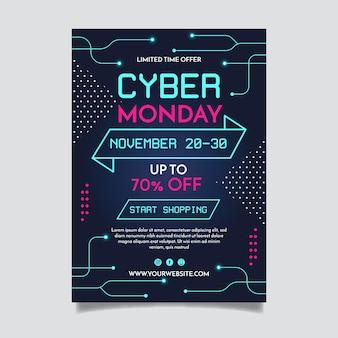 Plantilla de volante de diseño plano ciber lunes
