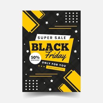 Plantilla de volante de diseño plano de viernes negro oscuro y amarillo
