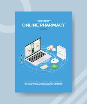 Plantilla de volante de farmacia en línea de tecnología