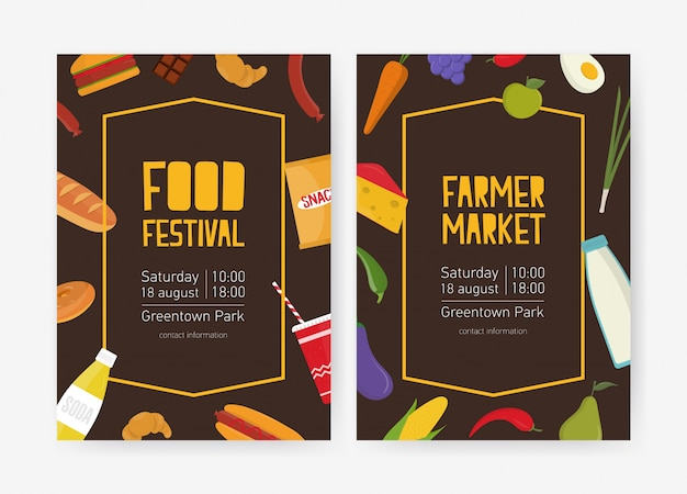 Plantilla de volante para festival de comida o mercado de agricultores decorado con frutas, verduras, aperitivos, productos lácteos y de panadería. ilustración de vector colorido para anuncio de evento