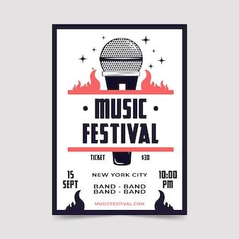 Plantilla de volante festival de música retro