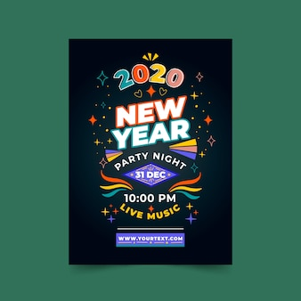 Plantilla de volante de fiesta de año nuevo 2020 dibujado a mano