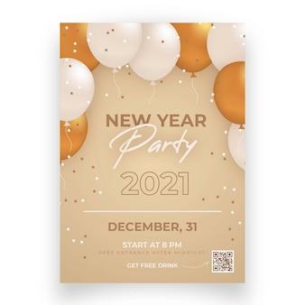 Plantilla de volante de fiesta de año nuevo 2021 de diseño plano