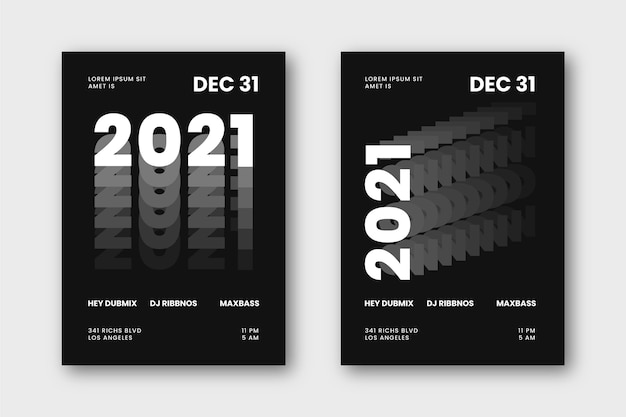 Plantilla de volante de fiesta de año nuevo 2021 tipográfico abstracto