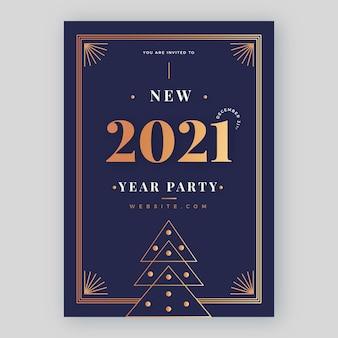 Plantilla de volante de fiesta de año nuevo dorado 2021