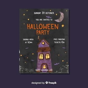 Plantilla de volante de fiesta de halloween en casa embrujada