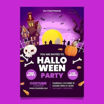 Plantilla de volante de fiesta de halloween vertical dibujada a mano
